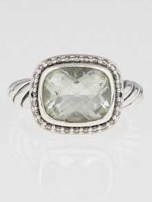 David Yurman Sterling Silver Prasiolite and Diamond Nobelesse Ring Size 5