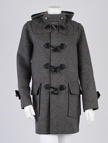 Burberry London Grey Wool Toggle Hooded Coat Size 6