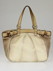 Gucci Beige Python Bamboo Buckle Tote Bag