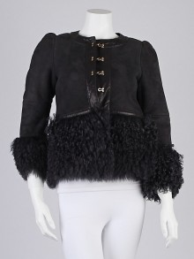 RED Valentino Black Suede/Leather Shearling Jacket Size 6/40