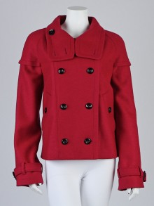 Burberry London Hot Pink Wool Double Breasted Cropped Jacket Size 12