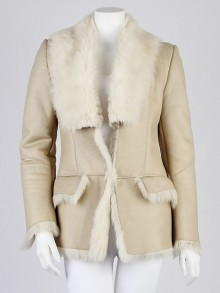 Gucci Beige Leather and Faux Fur Trim Coat Size 4/38