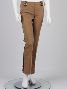 Dolce and Gabbana Tan Cotton and Leather Trim Pants Size 8/42