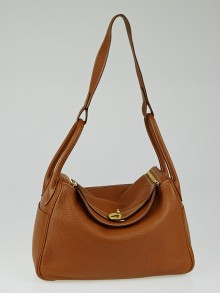 Hermes 30cm Gold Clemence Leather Lindy Bag