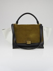 Celine Olive Tricolor Leather Small Trapeze Bag