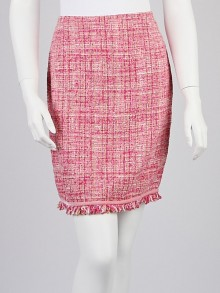 Escada Pink Tweed Fringe Skirt Size 4/36