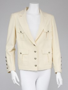 Chanel Ivory Wool Blend Raw Edge Jacket Size  8/40