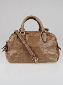 Miu Miu Talco Croc Embossed Patent Leather Mini Bowling Bag
