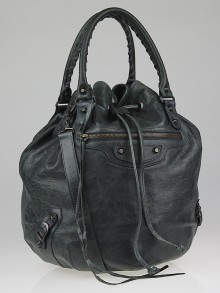 Balenciaga Anthracite Lambskin Leather Pompon Bag