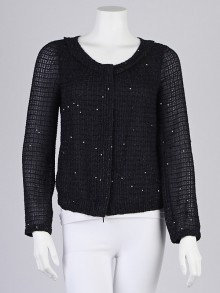 Armani Collezioni Navy Blue Silk/Sequin Zip Jacket Size 6/40