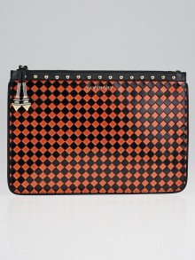 Givenchy Black/Orange Diamond Patten Leather Medium Zip Clutch Bag