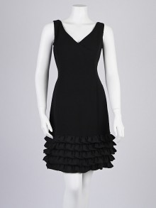 Armani Collezioni Black Silk Ruffle Sleeveless Dress Size 8