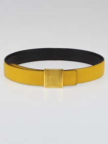 Hermes 32mm Black Box/Jaune Courchevel Leather Gold Plated Cadena H Belt Size 85