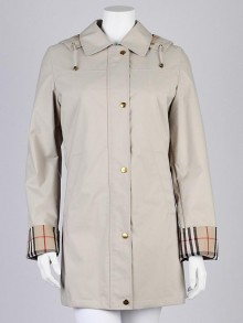 Burberry London Honey Fabric 'Kayla' Hooded Trench Coat Size 6