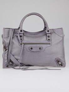 Balenciaga Limited Edition Neiman Marcus Anniversary Lilac Lizard Embossed Leather Motorcycle City Bag