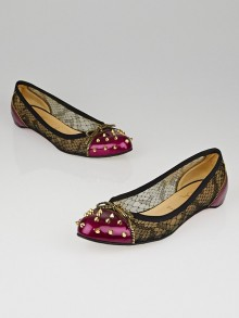 Christian Louboutin Cranberry Patent Leather and Black Lace Candy Studded Flats Size 10/40.5