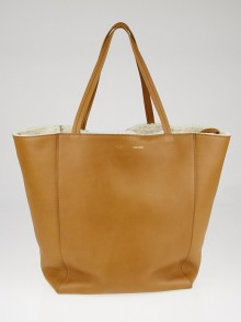 Celine Camel Calfskin Leather and Shearling Horizontal Phantom Medium Cabas Tote Bag