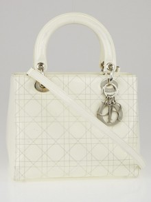 Christian Dior White Cannage Quilted Patent Leather Medium Lady Dior Bag