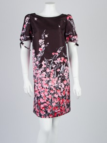 Red Valentino Black Floral Print Puff Sleeve Dress Size 10/44