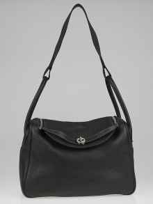Hermes 34cm Graphite Clemence Leather Lindy Bag