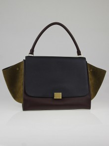 Celine Jungle Tricolor Smooth Leather and Suede Large Trapeze Bag