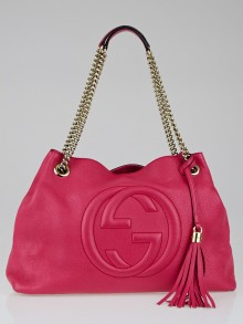 Gucci Hot Pink Pebbled Calfskin Leather Soho Chain Tote Bag