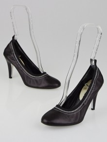 Chanel Black Leather Elastic Pumps Size 5.5/36
