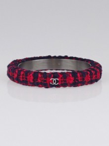 Chanel Blue/Red Tweed CC Narrow Bangle Bracelet Size M