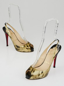Christian Louboutin Black and Tiger Patent Leather No Prive Slingback Pumps Size 9/39.5