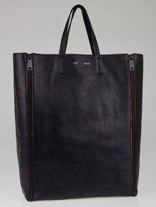 Celine Black Leather Vertical Gusset Zip Mesh Cabas Tote Bag