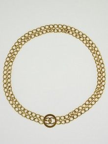Chanel Goldtone Chain CC Medallion Belt