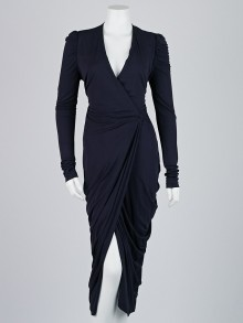 Alexander McQueen Navy Blue Rayon V-Neck Wrap Dress Size 8/42