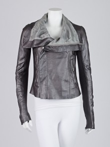 Rick Owens Silver Metallic Lambskin Leather Biker Jacket Size 8/42