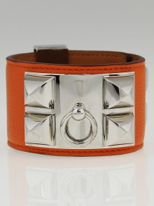 Hermes Orange Swift Leather Palladium Plated Collier de Chien Cuff Bracelet Size S