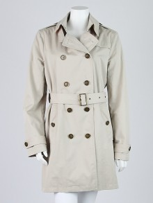 Burberry Brit Off White Cotton Blend Double Breasted Trench Coat Size 12