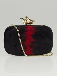 Givenchy Black/Red Pony Hair Abstract Flower Minaudiere Clutch Bag
