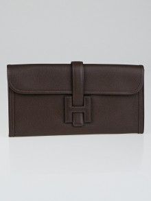 Hermes Chocolate Brown Epsom Leather Jige Clutch Bag