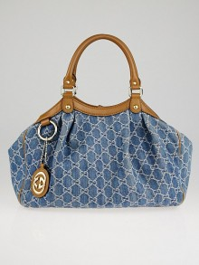 Gucci Blue Denim GG Denim Medium Sukey Tote Bag
