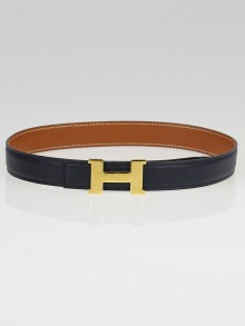 Hermes 24mm Navy / Gold Courchevel Leather Gold Plated Constance H Belt Size 60