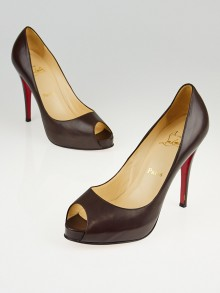 Christian Louboutin Brown Leather Very Prive 120 Peep Toe Pumps Size 8.5/39