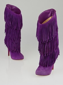 Christian Louboutin Purple Suede Forever Tina Fringe Boots Size 4.5/35