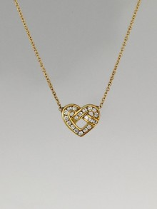 Tiffany & Co. 18k Gold and Diamond Heart Knot Pendant Necklace