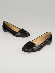Christian Louboutin Black Patent Leather Penny Girl Flat Loafers Size 6.5/37