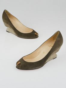 Christian Louboutin Grey Suede 123 70 Wedges Size 8.5/39