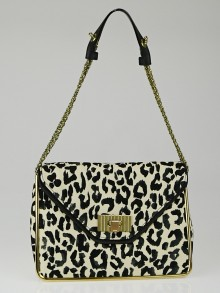 Chloe Ecru/Black Leopard Print Fabric Medium Sally Flap Bag