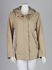Burberry London Honey Polyester Hooded Rain Coat Size 6