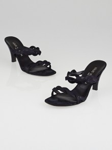Louis Vuitton Black Monogram Mini Lin Shine Canvas Strappy Sandals Size 6/6.5