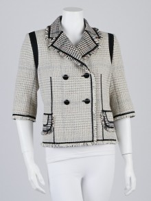 Louis Vuitton Beige Wool Blend Tweed and Fringe Jacket Size 10/42