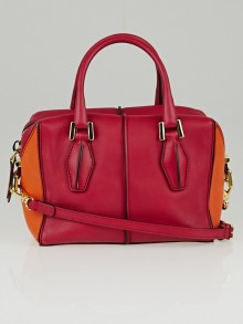 Tod's Red/Orange Leather D-Cube Mini Bowler Bag