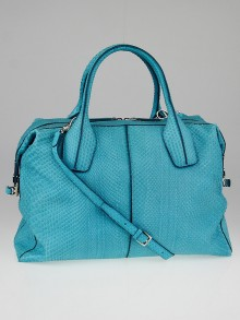 Tod's Turquoise Python D-Styling Medium Bauletto Bag